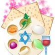 Stock Vector: Jewish celebrate pesach passover with eggs