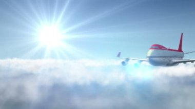 Animated intro with airplane flying over mountains landscape and sun flare — Stock Video
