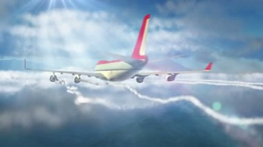 Animated intro with airplane flying over clouds — Stock Video
