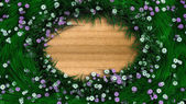 Floral holiday background border with flowers and plants — Stock Photo