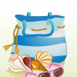 Seaside summer holiday background with sand,bag, shells and sunglasses — Stock Vector
