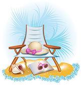 Fundo de férias de verão à beira-mar com palm, cadeira, guarda-chuva, livro — Vetorial Stock