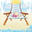 Seaside summer holiday background with hat, palm, chair — Stock Vector