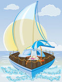 Summer holiday background with sailing ship, chair and umbrella — Stock Vector