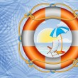 Orange lifebuoy with stripes and rope on the palm trees background — Stock Vector