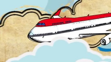 Europa tourism cartoon decorative footage with airplane and clouds — Stock Video