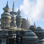 Aerial view of Futuristic City — Stock Photo