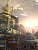 Letecký pohled na futuristické město — Stock fotografie