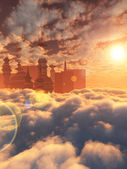 Aerial view of Sci Fi City with clouds and sun — Stock Photo