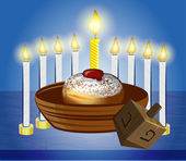 Hanukkah celebrate candles with traditional donuts — Stock Vector