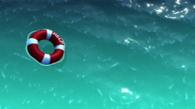 White lifebuoy with red stripes and rope as help and freedom concept — Stock Video