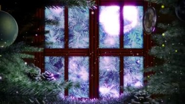 Window with abstract Christmas tree decorative animated background — Vidéo