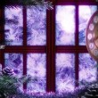 Window with abstract Christmas tree decorative animated background — Stock Video #37987833