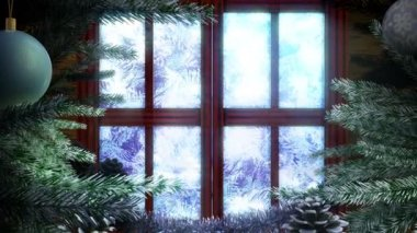 Animated Holiday Christmas window with winter landscape background — Stock Video