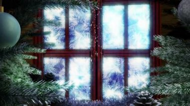 Animated Holiday Christmas window with isolated alpha mask — Vidéo
