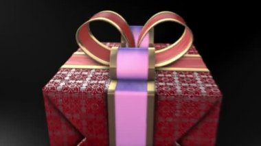 Red gifts on black background. Holiday sale 3d animation — Stock Video