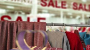 Sale in shop concept animation with fashion and flying butterfly — Stock Video