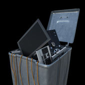 Computers in a trash bin on a white background — Stock Photo