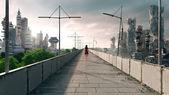 апокалиптические концепции фон футуристический и разрушенного города — Стоковое фото