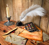 Communication and progress concept background with vintage and modern elements — Foto de Stock