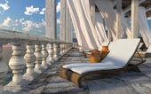 Arquitectura antigua con fondo sunbed concepto Turismo vacaciones — Foto de Stock
