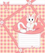 Cuaderno con gato — Vector de stock