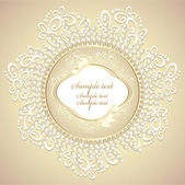 Wedding or sweet frame with pearls petals and lace — Stock Vector