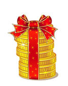 Stack of gold coins with ribbon and bow — Stock Vector