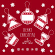 Merry Christmas and New Year labels in red color — Stock Vector