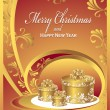 Post cards with gifts for Christmas and New Year in red — Stock Vector