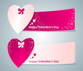 Two banners with hearts — Stock Vector
