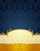 Set Seamless pattern in Victorian style Gold and Dark Blue colors — Stock Vector
