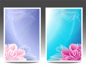 Two flowers banners or background with pink magenta peony — Stock Vector