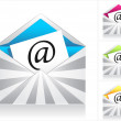Set envelopes with silver rays and symbol email — Stock Vector