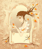 Autumn girl with a scroll on grunge background — Stock Vector