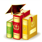 Books with Graduation cap — Stock Vector