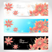 Set Flowers banners on white blue black background — Stock Vector