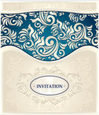 Invitation or Frame in dark blue and beige colors — Stock Vector