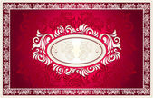 Invitation or frame or label with Floral background in red — 图库矢量图片