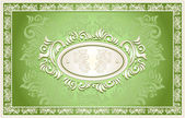 Invitation or frame or label with Floral background in green — Stock Vector