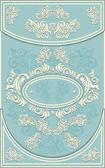 Vintage Frame or label with Floral background in blue — Stock Vector