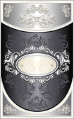 Vintage Frame or label with Floral background in black silver — Stock Vector