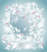 Frame or Background with flowers pearls petals ribbon light blue — Stock Vector