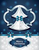 Árbol de Navidad de papel con el azul oscuro de arco cinta plata los copos de nieve — Vector de stock