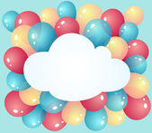 Cloud with balloons — Stock Vector
