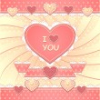 Valentines Card with hearts and scrapbooking elements — Stock Vector