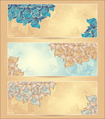 Set Abstract floral banners with flowers shells seaweed — Stock Vector