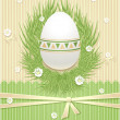 Easter Egg with grass flowers ribbon — Stock Vector
