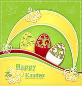 Paskalya yumurtaları yeşil sarı kağıt — Stok Vektör