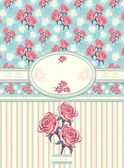 Retro floral frame with seamless pattern on blue background — Stok Vektör